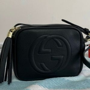 Gucci GG Soho Black Leather Disco Bag NEW